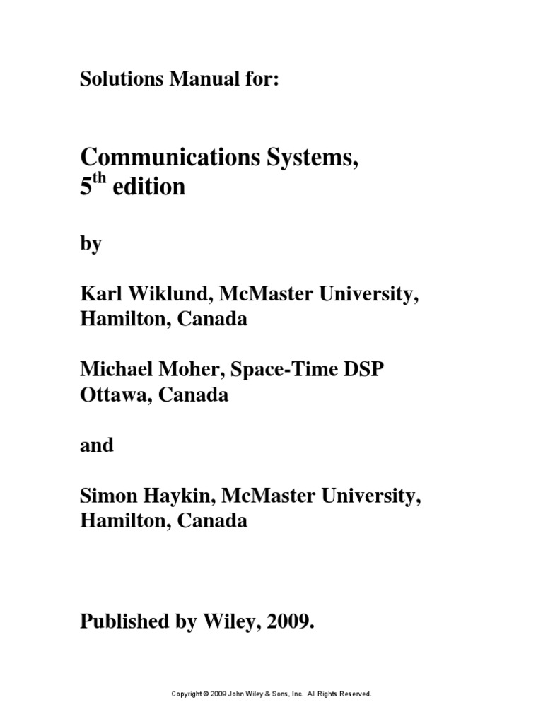 Solutions manual] communication systems 4th edition simon haykin -.