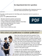 Oak Ridge Police Department Interview Questions
