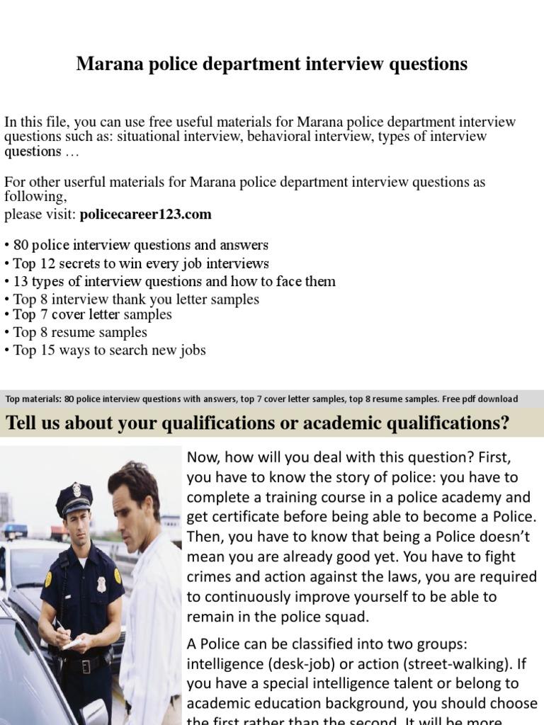 Marana Police Department Interview Questions Job Interview