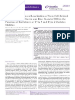 Immunohistochemical Localization of Stem Cell-Related Markers (CD133, Nestin and Bmi-1) and mTOR in the Pancreas of Rat Models of Type 1 and Type 2 Diabetes Mellitus