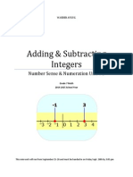 add and subtract intergers workbook
