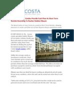 Casa Costa Beach Condos Provide Cash Flow as Short Term Rentals According to Realtor Debbie Elbaum