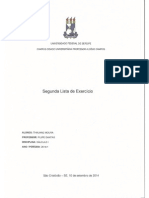 Segunda Lista de Exercício - Cálculo I