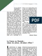1993-10--- La France Au Rwanda Raison Du Prince Deraison d'Etat
