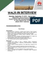 Huawei Walk in Interview - Jakarta Sep 13 2014