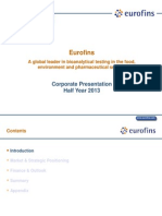 Eurofins Corporate Presentation H1 2013