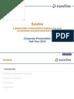 Eurofins Corporate Presentation H1 2013