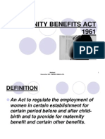Maternity Benefits Act 1961