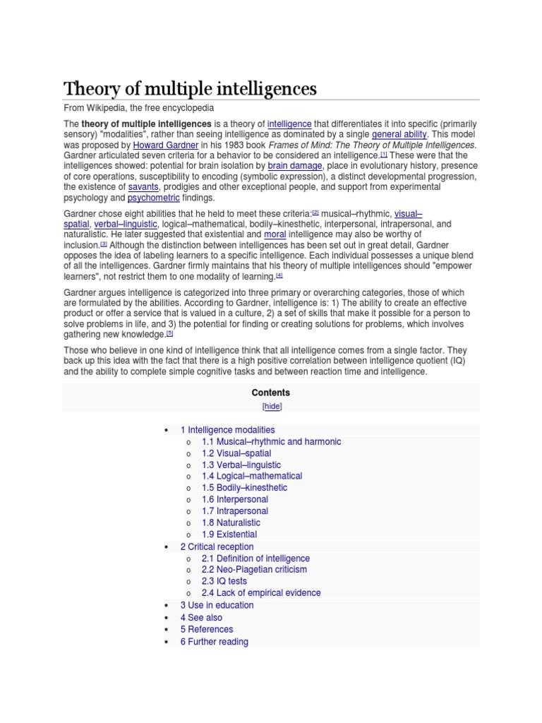 photograph regarding Printable Multiple Intelligences Test called Principle of Several Intelligences Utilised Psychology
