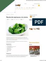 Receta de Espinacas a La Crema - El Gran Chef