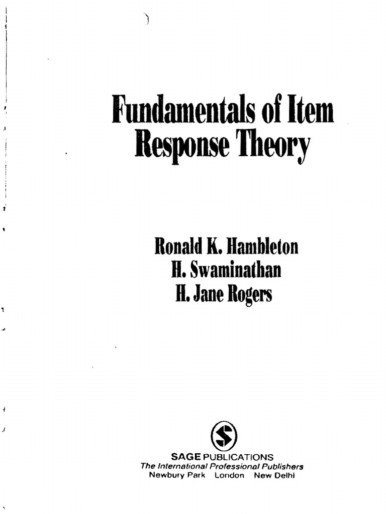 Ronald k hambleton fundamentals of item response theory test ronald k hambleton fundamentals of item response theory test assessment psychometrics fandeluxe Image collections