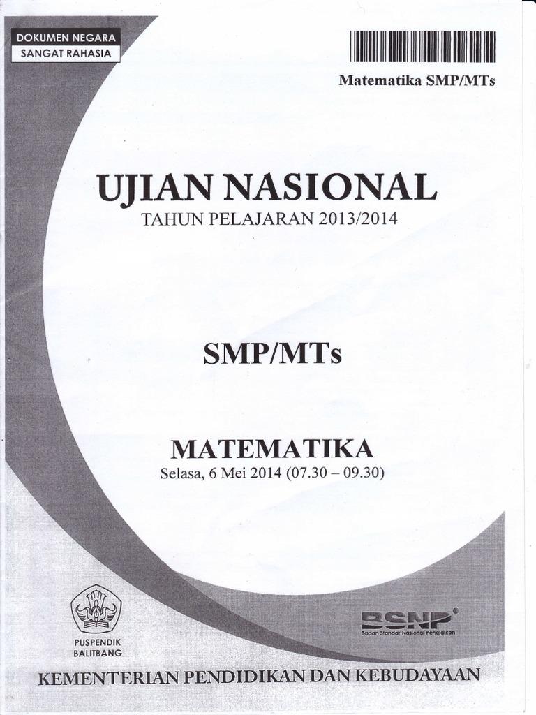 Soal Dan Pembahasan Un Matematika Smp Tahun 2014 Pdf