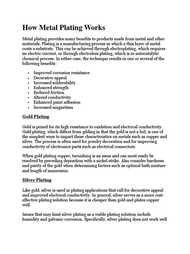 Metal Plating   Chemical Process Engineering   Procedural