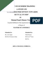 Customer Perception Towards Mutual Fund Final