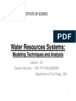 Lecture 20 Water Resources Systems Modeling Techniques and Analysis