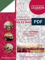 Programme de l'université de rentrée de Maintenant la Gauche - Bierville 2014
