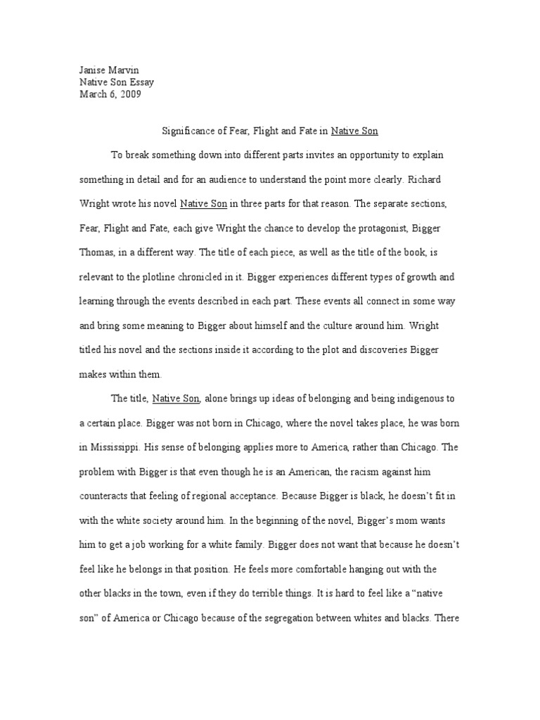 native son essay on power In native son, richard wright examines how the correlation of race and vio-   what little power blacks can attain comes not from following.