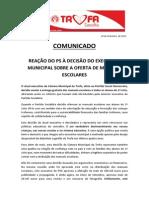 Comunicado - Ps Trofa Condena Decisaìo de Anular Oferta de Livros Escolares