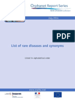 List of Rare Diseases in Alphabetical Order