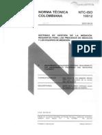 NTC ISO 10012 Sistemas de Gestión de La Medición