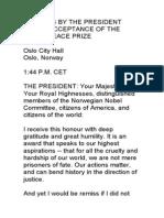 Obama's Peace Prize Speech. Transcript