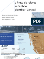 Rotura de Presa de Relaves en British Columbia-Canadá