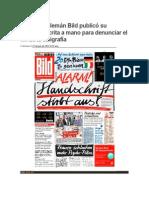 E UU Periódico alemán Bild publicó su portada escrita a mano para denunciar el fin de la caligrafía