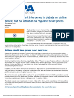 Indian Government Intervenes in Debate on Airline Prices; But No Intention to Regulate Ticket Prices _ CAPA - Centre for Aviation