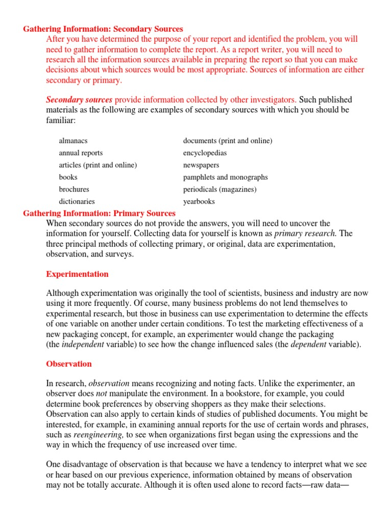primary research report example