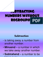 Subtracting Numbers Without Regrouping