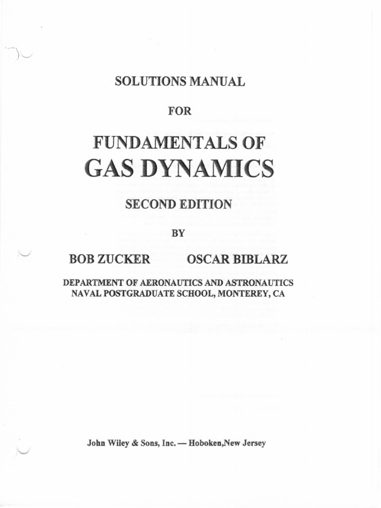 Fundamental Of Gas Dynamics Sol Ch1to4