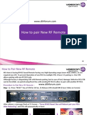 How to Pair Radio Frequency Remote in Videocon d2h