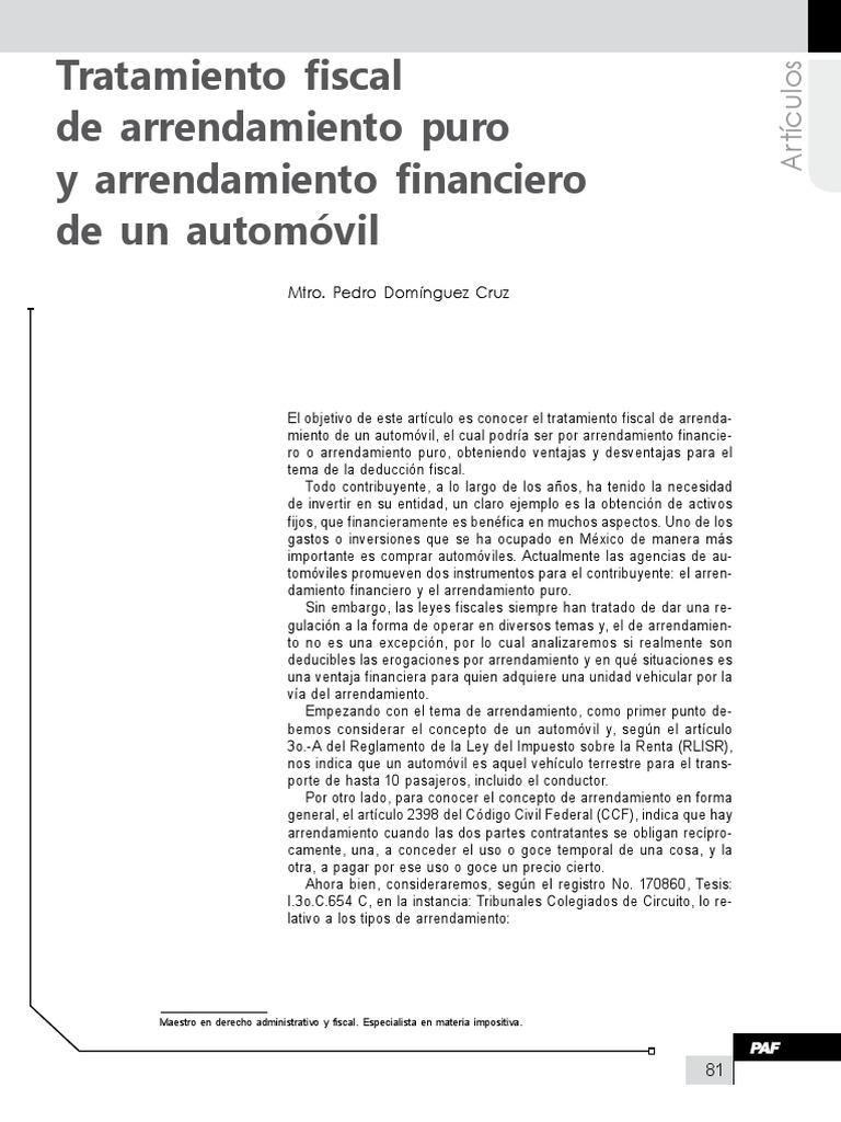 Tratamiento Fiscal de Arrendamiento Puro y Arrendamiento Financiero ...