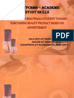 Behaviour of Bem Female Student Toward Purchasing Beauty
