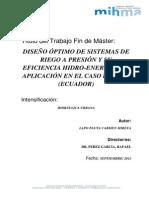 Diseño Óptimo de Sistemas de Riego a Presión y Su Eficiencia Hidro-Energética
