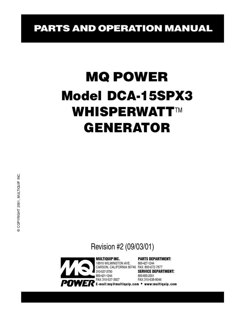 Multiquip Whisperwatttm Generator Dca 15spx3 1 Tire Trailer Circuitbreaker S Type Hgi Can Be Used As Vehicle