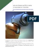 Departamento de Estado de EEUU Alerta Sobre Impunidad en Colombia