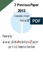 SBI PO Prev Paper 2013 Gr8AmbitionZ