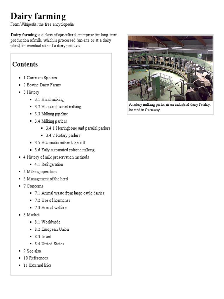 Dairy Farming - Wikipedia, The Free Encyclopedia | Dairy Farming | Dairy