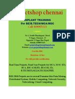 Inplant Training for BE/B.TECH/MSC/MCA