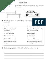 Forces - Forces - 02 - Worksheet Balanced Forces