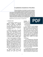 A Study in the Optimisation of Manufacture of Nanofibres (Without Affiliations)