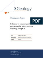 MDavis 2013 Solutions to Common Problems Encountered in Minex Resource Reporting Using SQL
