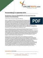 Pressemeldung Vom 15.09.2014 Der Beckumer Textservice ONLINETEXTE.com Als Starker Partner Für Modernes Internetmarketing