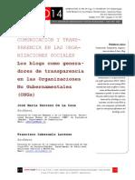 Icono14. Nº13. COMUNICACIÓN Y TRANSPARENCIA EN LAS ORGANIZACIONES SOCIALES. Los blogs como generadores de transparencia en las Organizaciones No Gubernamentales (ONGs)
