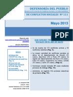Reporte M. de Conflictos Sociales N 111 Mayo2013