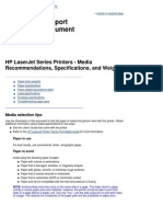 HP LaserJet Series Printers - Media Recommendations, Specifications, and Weights