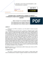 Constructing a Mathematical Models to Predict Compressive Strength of Concrete From Non-Destructive Testing