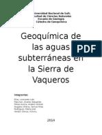 Informe de Geoquimica de Las Aguas Subterráneas en La Sierra de Vaqueros