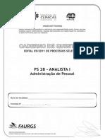PS 28 - ANALISTA I - Administração de Pessoal - 30q2093630